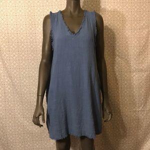 Umgee Linen Raw Edge dress w/ POCKETS- Blue sz S